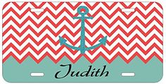 Personalized Name Monogrammed Chevron Turquoise Red Car License Plate Auto Tag Top Craft Case http://www.amazon.com/dp/B00LOWR0UQ/ref=cm_sw_r_pi_dp_NFptub12BHBRB