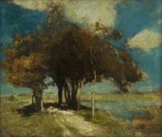 Charles Hodge Mackie (Ang. 1862-1920),Landscape with Sheep under Trees, huile sur toile, Glasgow Museums