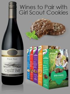 A great guide for Pairing Wine with Girl Scout Cookies. Look at the recommendations, and pick up some wine to go with your cookies.