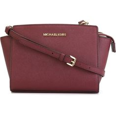 Michael Michael Kors Medium Selma Crossbody Bag ($380) ❤ liked on Polyvore featuring bags, handbags, shoulder bags, bordeaux, crossbody purse, mini crossbody, michael michael kors handbags, mini handbags and mini cross body purse