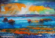 """Sunset Seascape 2""----- Art by Gabriela Calinoiu------Pictura in acuarelă www.galeriagabriela.wordpress.com Wordpress, Watercolor, Sunset, Painting, Pen And Wash, Sunsets, Watercolor Painting, Watercolour, Painting Art"