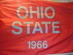 VINTAGE Ohio State University REAL Stadium Banner Pennant Flag 6'x4' FEET -RARE!