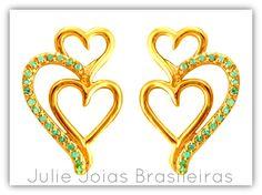 Brincos em ouro 750/18k e água-marinha (750/18k gold stud earrings with acquamarine)