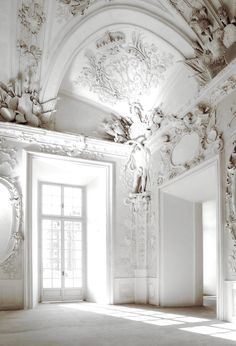 This design is influenced by the baroque era. Although the colour scheme may not be completely correct, the elaborate damask furnishings are amazing. This image is inspiring becauss although it is completely one shade of white, it still loos beautiful because of all the intricate detailing.