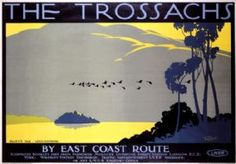 The Trossachs, Ellen's Isle, Loch Katrine. Vintage LNER Travel Poster by Tom Purvis Posters Uk, Train Posters, Railway Posters, Poster Prints, Modern Posters, Art Prints, British Travel, Tourism Poster, England And Scotland