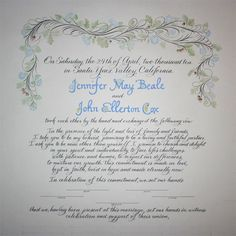 Custom calligraphy marriage certificate with guest signature lines
