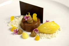 Manjari Chocolate Soft Ganache, Mango White Chocolate Powder, Praline Cremeux, Passion Fruit Sorbet, Tropical Fruit Curd