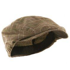 MG Men's Plaid Ivy Newsboy Cap Hat (Brown, Medium)