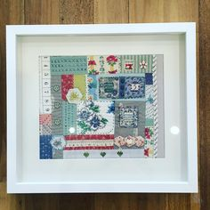 Love Connie's 'Patchwork & Embellishment'...a beautiful example of her  attention to detail and creativity. Looks fantastic framed!! -Next workshop April 23rd- Book online #treehousetextiles #patchwork #embellishment #workshop #framed #bees #buttons #gorgeous #greatideas #creativity