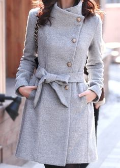 #Gray  Wool Jacket  #Fashion #New #Nice #Coats #2dayslook  www.2dayslook.com