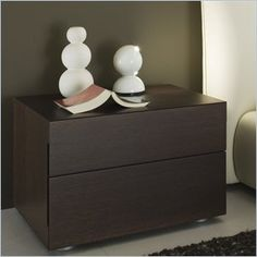 Rossetto Sound 2 Drawer Night Stand in Wenge - The sound nightstand provide adequate storage while accenting the appeal of the room. This night stand will make a great match to the Pavo Milk Bed (separately). Features: Warranty: 1 Year manufacture defect Finish: Wenge 2 Drawers Made in Italy
