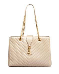 V1SBP Saint Laurent Cassandre Chain-Strap Matelasse Shopper Bag, Beige