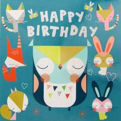 "print & pattern blog - Paperchase owl card from the ""animal gang""… Cool Birthday Cards, Happy 2nd Birthday, Happy Birthday Images, Birthday Messages, Birthday Pictures, Happy Birthday Wishes, Birthday Greeting Cards, Birthday Quotes, Birthday Greetings"
