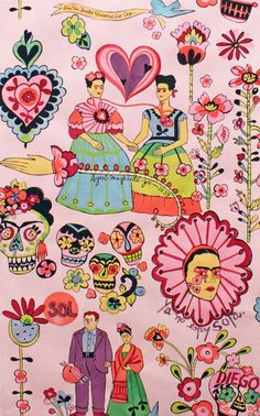 As-If Frida Kahlo kitsch: Alexander Henry Fabric Las Dos Fridas Rose Frida E Diego, Frida Art, Arte Fashion, Alexander Henry, Mexican Folk Art, Art Design, Art Inspo, Collages, Iphone Wallpaper