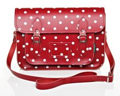 Red and White polka dotted satchel-I may be in love.  Via-http://www.zatchels.com/bags/collection-category/polka-dot-collection/red-white-polka-dot-leather-satchel.html
