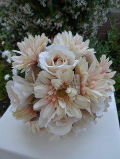 Bridal bouquet in cream roses and gerber by AlwaysElegantBridal, $55.00