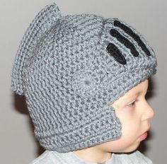 """Sir Knight Helmet/Hat "". This pattern includes instructions for creating the hat in 0-3 months, 3-6 months, 6-12 months, toddler, child, adult, & large adult sizes. This pattern is easy, basic crochet knowledge."