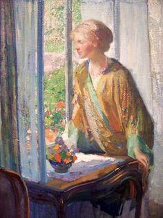 ~Richard E. Miller ~ American Impressionist artist, 1875-1943: At the Window
