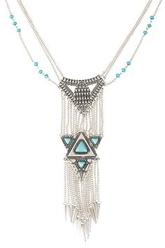 Chic Turquoise Triangle Tassel Necklace