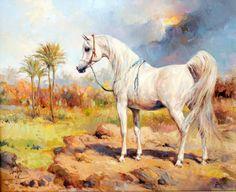Arabian horse painting by Ali Al Mimar - Oil on canvas