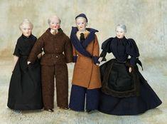 Dollhouse Dolls, Miniature Dolls, Dollhouse Miniatures, Antique Dolls, Vintage Dolls, Doll House People, Elderly Person, Grey Beards, Grey Hair