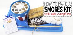 This little DIY smores kit comes complete with a mini campfire! It's great for summer and can even be used inside the house. It also makes a great gift. Cd Crafts, Mason Jar Crafts, Craft Stick Crafts, Bottle Crafts, Craft Sticks, Paper Mache Tree, Smores Kits, Washi Tape Dispenser, Plastic Bag Holders