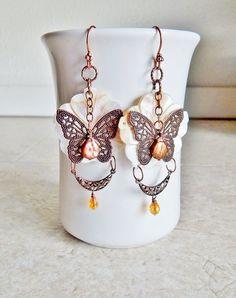 Bohemian jewelry butterfly statement earrings by AJBcreations, $28.00