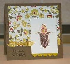 Indian Corn Birthday Card // Stampin' Up paper Comfort Cafe, Crushed Curry