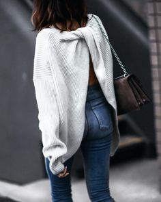 slouchy sweater with a twist... - Street Fashion
