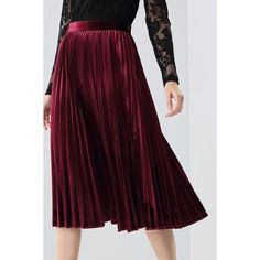 Pleated Midi Velvet Skirt ($55) ❤ liked on Polyvore featuring skirts, knee length pleated skirt, mid calf skirts, purple skirt, velvet midi skirt and calf length skirts
