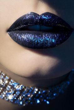Gorgeous glitter blue lips by MUA Sandra Fitz.