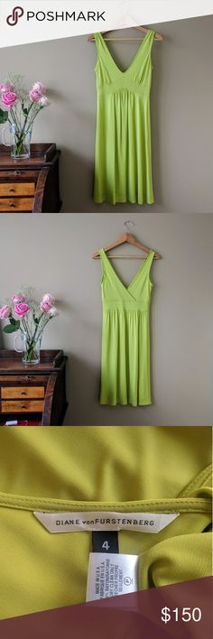 """DvF Chartreuse Sleeveless V-Neck Midi Dress Size 4 This vibrant swingy midi dress from Diane Von Furstenberg is perfect for those warm summer evenings! It features a v-neckline, a flattering gathered bust, shoulder, and empire waist, and cross back. Unlined. Slips on overhead. Beautiful chartreuse green that is gorgeous against a tan. 100% rayon. Dry clean only. Size 4. Approx 15"""" across the bust, 12.5"""" across the waist. 39"""" long. Excellent condition Diane von Furstenberg Dresses Midi"""