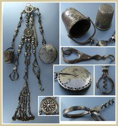 This antique cut steel sewing chatelaine is of French origin and is complete and date to the late 18th century. Five matching attachments to the waist plaque. The tools include a disc shaped pin cushion, a button hook, a thimble holder with steel thimble, a folding corkscrew for perfume bottles and a decorative cut steel attachment made of 5 chatelaines.The folding corkscrew works properly.The pin cushion has its original velvet interior. Very good condition.