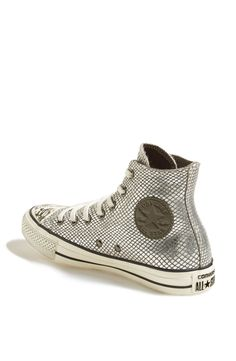 CHUCK TAYLOR, ALL STARS: metallic grey snake print leather.