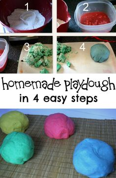 Home made play dough in 4 easy steps! Use ingredients you probably already have at home. You could even include your little ones in making the dough!