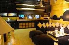 Elvis Presley's Media Room in the Graceland Mansion in Memphis, Tennessee