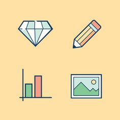 The essential animated GIF icon set. Contains icons for bar chart, image, pencil, diamond, checkmark, rocket, and more.