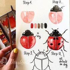 How to draw a ladybug, four step instruction, drawing with watercolor paints The post Pictures for tracing for beginners and advanced appeared first on Woman Casual - Drawing Ideas Watercolour Tutorials, Watercolor Techniques, Art Techniques, Watercolor Drawing, Painting & Drawing, Prima Watercolor, Gouache Painting, Watercolor Paintings For Beginners, Watercolor Art Lessons