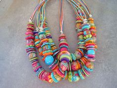 So pretty! Summer hues, multicolored chunky necklaces by ToutEnCouleur, via Flickr #polymer #clay #necklace