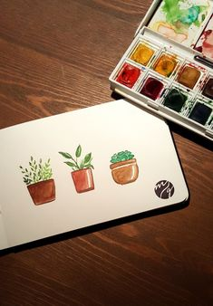Illustration Plants Pflanzen - Melanie Gürtler Illustration Watercolor Art Paintings, Sketch Painting, Easy Watercolor, Watercolor Cards, Watercolours, Henri Matisse, Illustrator, Illustration Blume, Creative Box