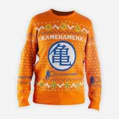 Reach your final form this holiday season with our DBZ sweater! Because you know what they say, orange is the new red and green.Please note: This is a PREORDER. Item will not ship immediately. Shipping will begin between Holiday Sweater, Christmas Sweaters, Christmas Clothes, Ugly Sweater, Men Sweater, Geek Girls, Cool Tees, Shirts, Note