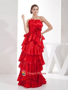 142.00$  Buy now - http://vickf.justgood.pw/vig/item.php?t=apdn1o25824 - Elegant Red A-line Strapless Taffeta Long Prom Dresses 2015 With Tiered