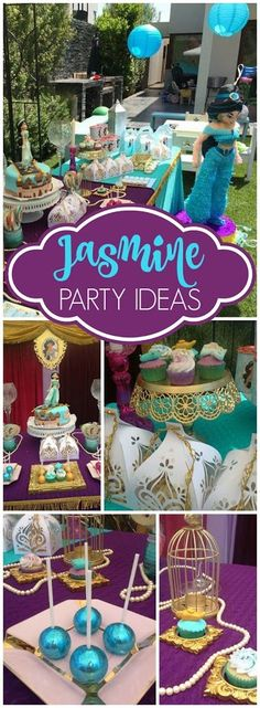 What a stunning Princess Jasmine party Check out the sparkly cake pops on slide 2 See more party ideas at Aladdin Birthday Party, Aladdin Party, Disney Princess Birthday, 4th Birthday Parties, Jasmine Birthday Cake, 5th Birthday, Birthday Ideas, Jasmin Party, Princess Jasmine Party