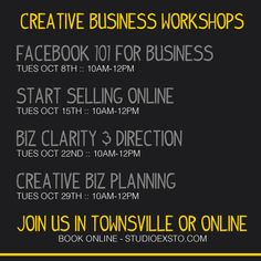 Creative business workshops - Online and in Townsville! #facebook #selling #online #direction #vision #action #smallbiz