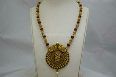 Beautiful Temple Peacock Pendant With Exquisite Antique Gold Balls & Rubie Beads Chain Mala Available At Totaramsons.com