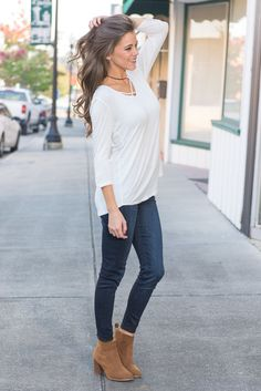 """""""Need To Know Basis Top, Ivory"""" This top is on a need to know basis and you need to know about this top! It's made of jersey knit fabric so you know it's comfy but what you may not know is this is super flattering! #newarrivals #shopthemint"""