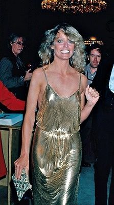"Farrah Fawcett 1978 Oscars red carpet in ""disco chic"" slip dress...gold metallic dress..so in love with this"