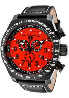 SWISS LEGEND Men's SL Pilot Chronograph Red Dial Black IP Case Black Leather