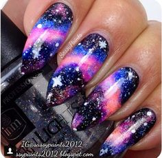 Neon galaxy nails by @sassypaints2012