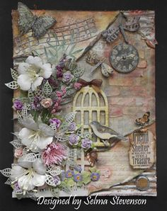 Selma's Stamping Corner and Floral Designs: Mixed Media Project for Guest Designer Post Mixed Media Cards, Mixed Media Journal, Mixed Media Collage, Mixed Media Techniques, Mixed Media Tutorials, Altered Canvas, Altered Art, Art Altéré, Mixed Media Scrapbooking